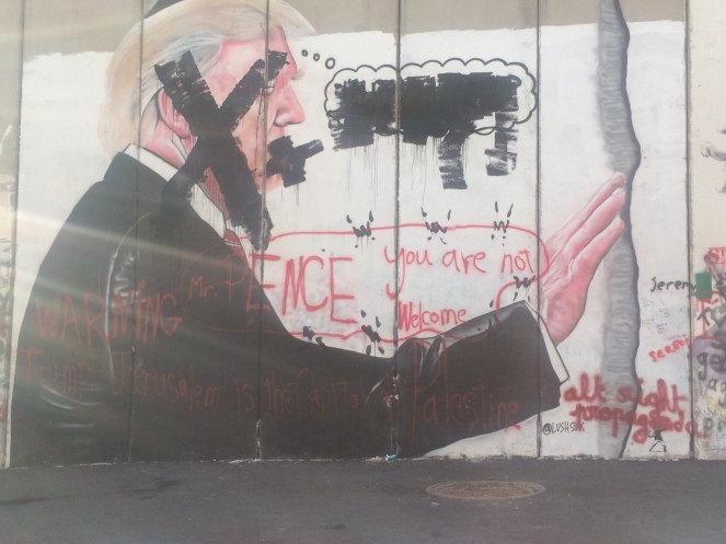 Trump Graffiti auf der Mauer von Bethlehem